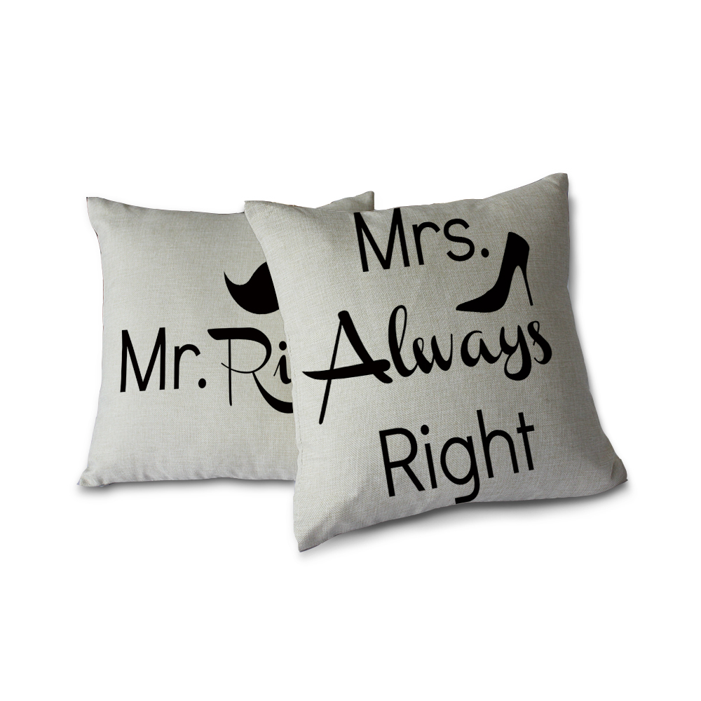 Miracille Square 18 2PCS Sofa Couple Throw Pillow case Cushion Cove Home Decor Gift Black Letter Mr.Right and Mrs.Always Right