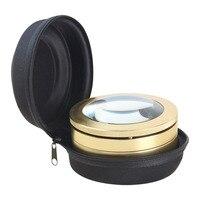 AOMEKIE 4X Desktop Magnifier 3 LED Illumination Stretch Paperweight Magnifying Glass 7cm Large Lens Metal Frame