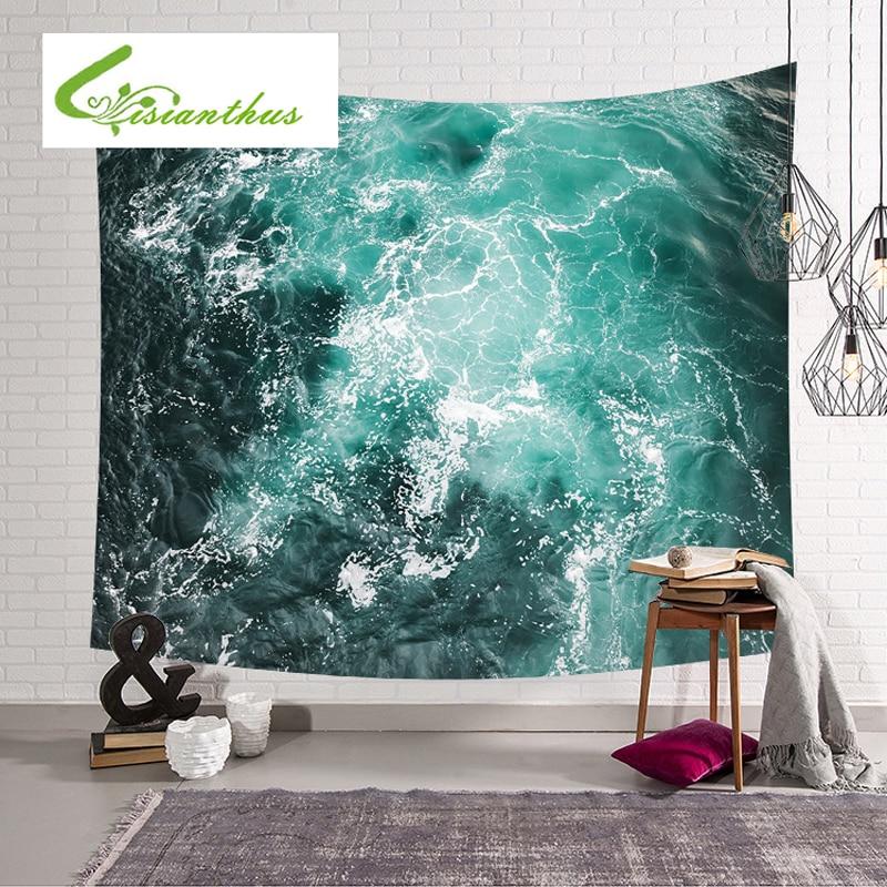 Индийский Гостиная настенный гобелен Beach Waves узор обеденный стол, открытый коврик дл ...