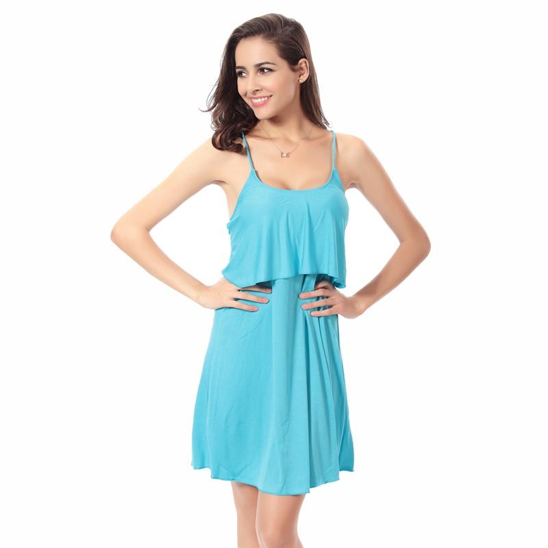 11 Colors Fashion Flounced Top Cross - Ties Back 2016 Women Plus Size Wrapped Beach Dresses S.M.L.XL