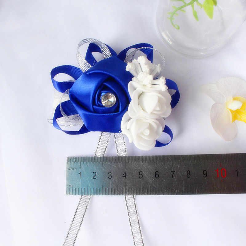 YO CHO ผ้าไหมกุหลาบสีขาวข้อมือ Corsage ข้อมือดอกไม้สำหรับ Bridesmaids สร้อยข้อมือดอกไม้สีชมพูสีฟ้าเจ้าสาวน้องสาวงานแต่งงานอุปกรณ์เสริม