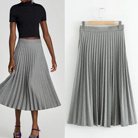 High quality 2019 new fashion style popular houndstooth pleated skirt woman