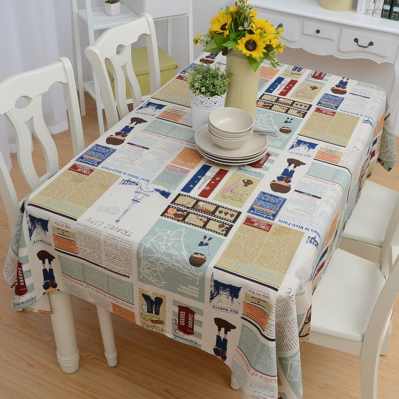 New Listing Fashion Dining Table Cloth Lattice Dustproof Multipurpose Tablecloth Cotton Canvas Double Warp Weft Thick