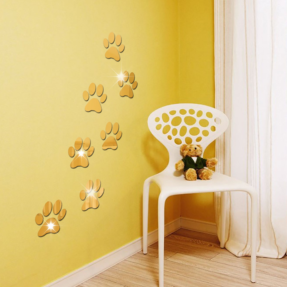 New Qualited 7Pcs Cartoon Dog Footprint Decoration Home Room Art 3D ...