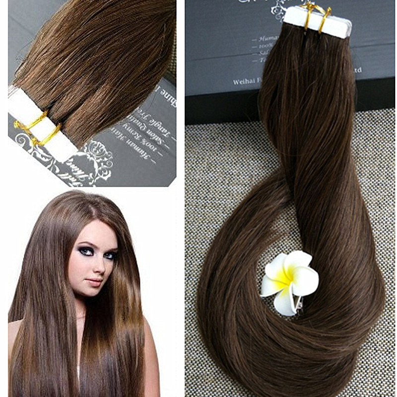 Full Shine Dark Brown Tape In Hair Extensions 4 Colored Hair