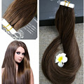 Full Shine Dark Brown Tape in Hair Extensions #4 Colored Hair Extensions Remy Glue in Real Hair Extensions Human Hair