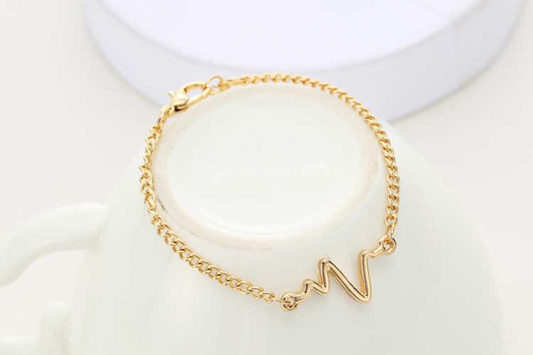 2018 New Arrivals Korean Fashion Hot Simple Waves ECG Heart Rate Lightning Bracelets For Women & Men Jewelry Summer Style Beach