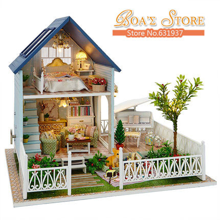 New Ariive Diy Wooden Doll House Miniatura 3D Puzzle Children Toys Model Kits Toys Birthday Christmas Gift Nordic Holiday metal diy nano 3d puzzle model tiger tank kids diy craft 3d metal model puzzles 3d solid jigsaw puzzle
