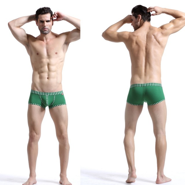 2pc Green Men Sex Wear Boxer Shorts Underwear Male Trunk Underpants Gay Men Clothes