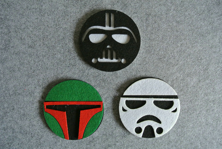 Freeshipping 6 pcs Starwars Felt Coaster Cup mats Cartoon Pad supply fabric