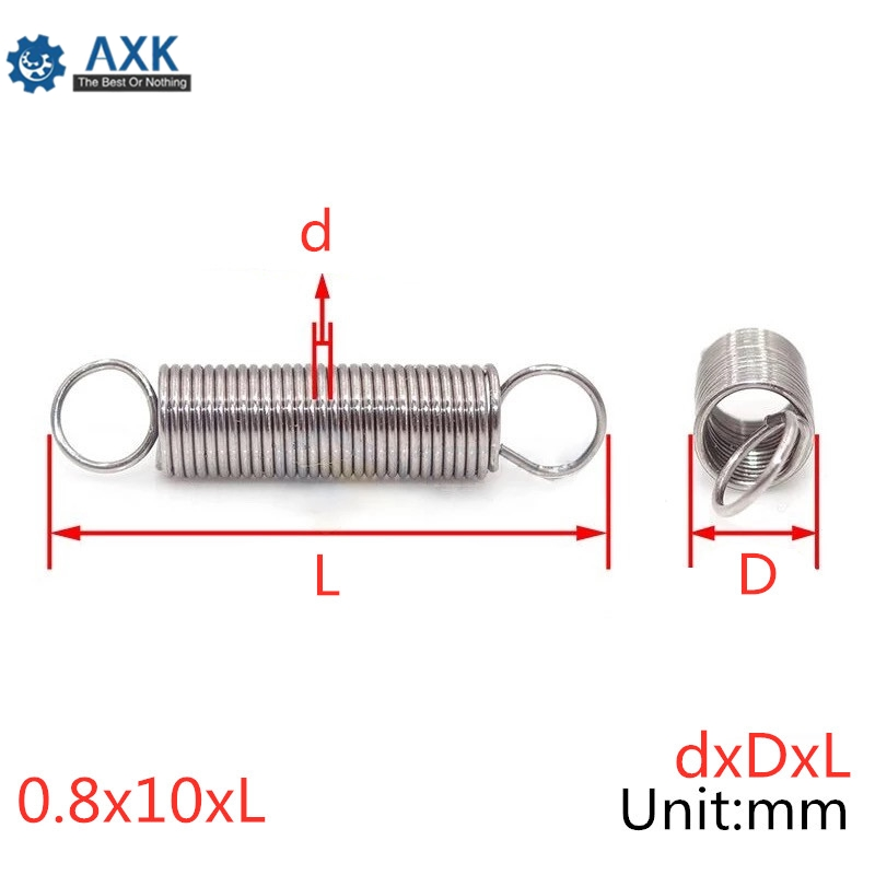20Pcs 0.8 x 10mm 0.8mm Stainless Steel Tension Spring With Dual Hook Extension Springs Outer Diameter 10mm Length 30-60mm image