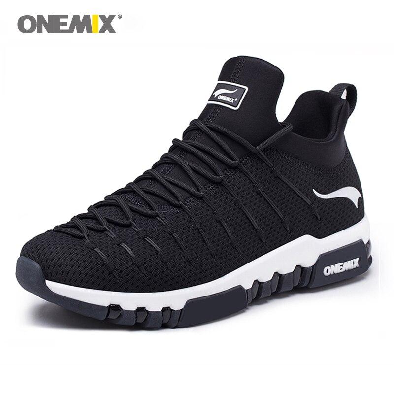 Новый Onemix Для Мужчин's Бег обувь дышащие кроссовки для Для мужчин легкие дышащие мягкие стельки для Открытый Поход Бег кроссовки