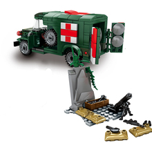 Army WW2 Ambulance Building Blocks Military Car Soldiers Figures Bricks Children Educational Blocks Toys Gift yamala imperial redcoat army soldier gun collectible building blocks children gift toys compatible with legoingly army soldiers