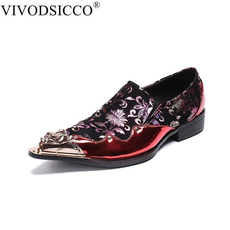 Rebites Sapato Patente vermelho Sapatos Impressão Clássico De Ponta Metal Casamento Homens Dos Se Flats Couro Banquete Chinelos azul verde Vivodsicco Genuíno Preto Vestem ZqwCTw