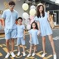 Семья мода лето усики 2016 семья установить жидкости случайный набор одежды для матери и сына
