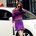2015 Korean winter fashion wool coat tail long sleeved short skirt two suit skirt female