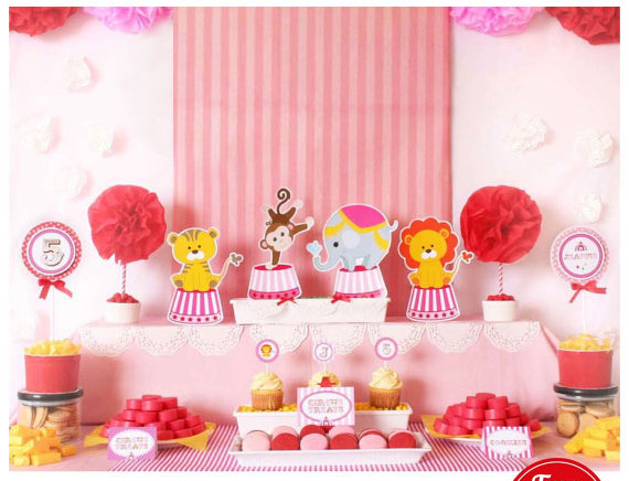 Detail Feedback Questions About Circus Birthday Party Table Centerpiece Decorations Kids Vintage Pink Carnival