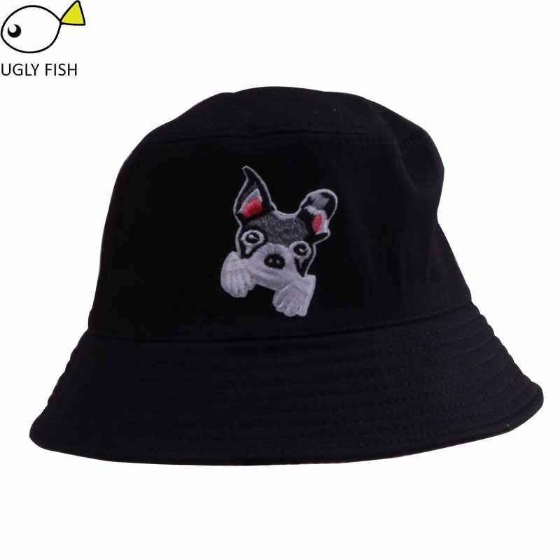 379014cb463 ... bucket hat hip hop hiking outdoor panama bob hat bucket summer harajuku cute  dog cat butterfly