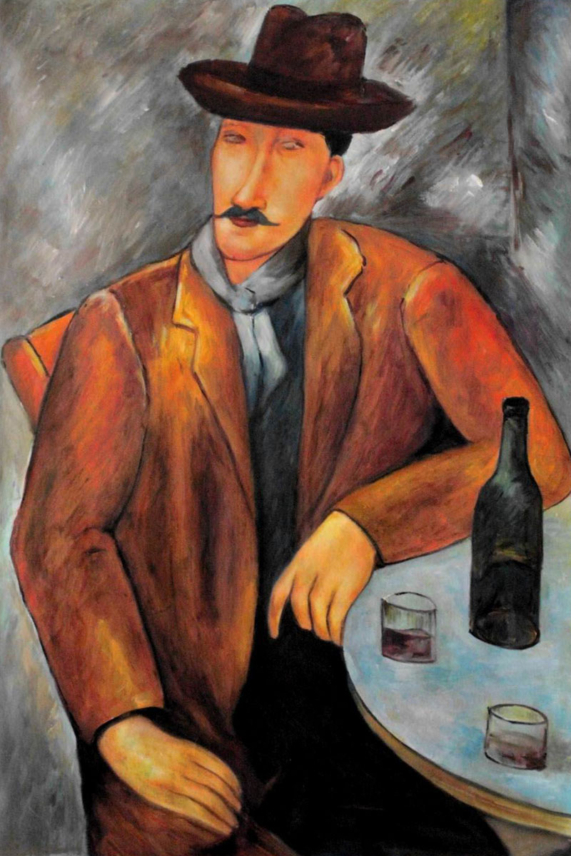 Museum Quality Figure Oil Painting for Home Decoration Seated Man by Amedeo Modigliani Painting on Canvas Handpainted