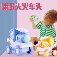 Toy Train Pull Back Car Toys Cast Toy Car Tumbling Stunt Locomotive Educational Toy Montessori Kids Toys Bus Model Toy Cars(China)