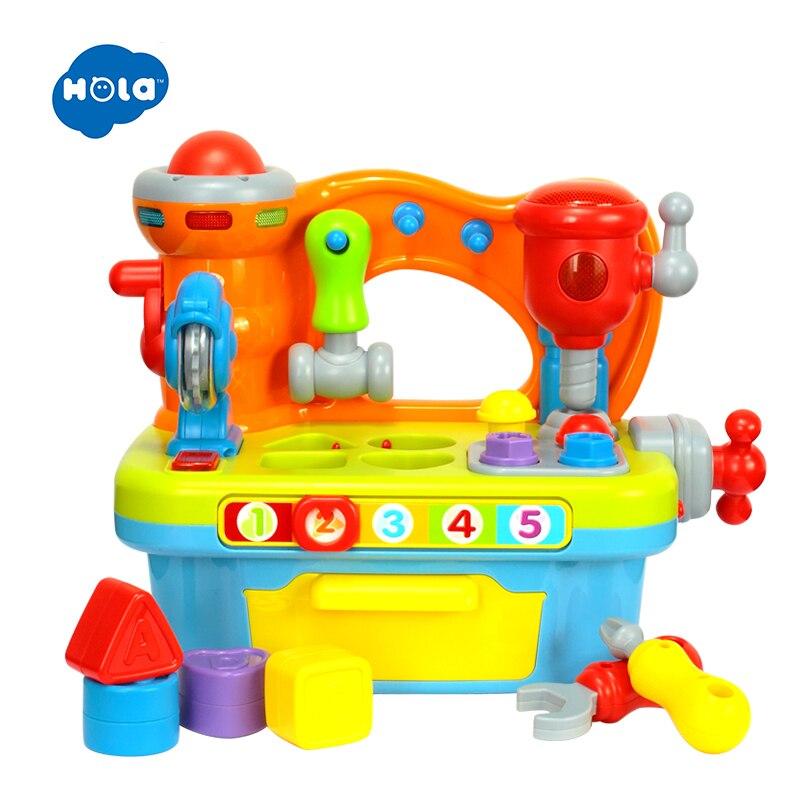 HUILE TOYS 907 bébé jouets enfants etabli semblant jouer outil Set électrique jouet avec musique & lumière & blocs jouets pour enfants garçons