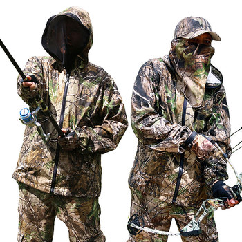 Bionic Camouflage Clothes Tactical Sniper Ghillie Suits Cotton Camo Hunting Clothing Anti-Mosquito Spring Autumn Fishing 6