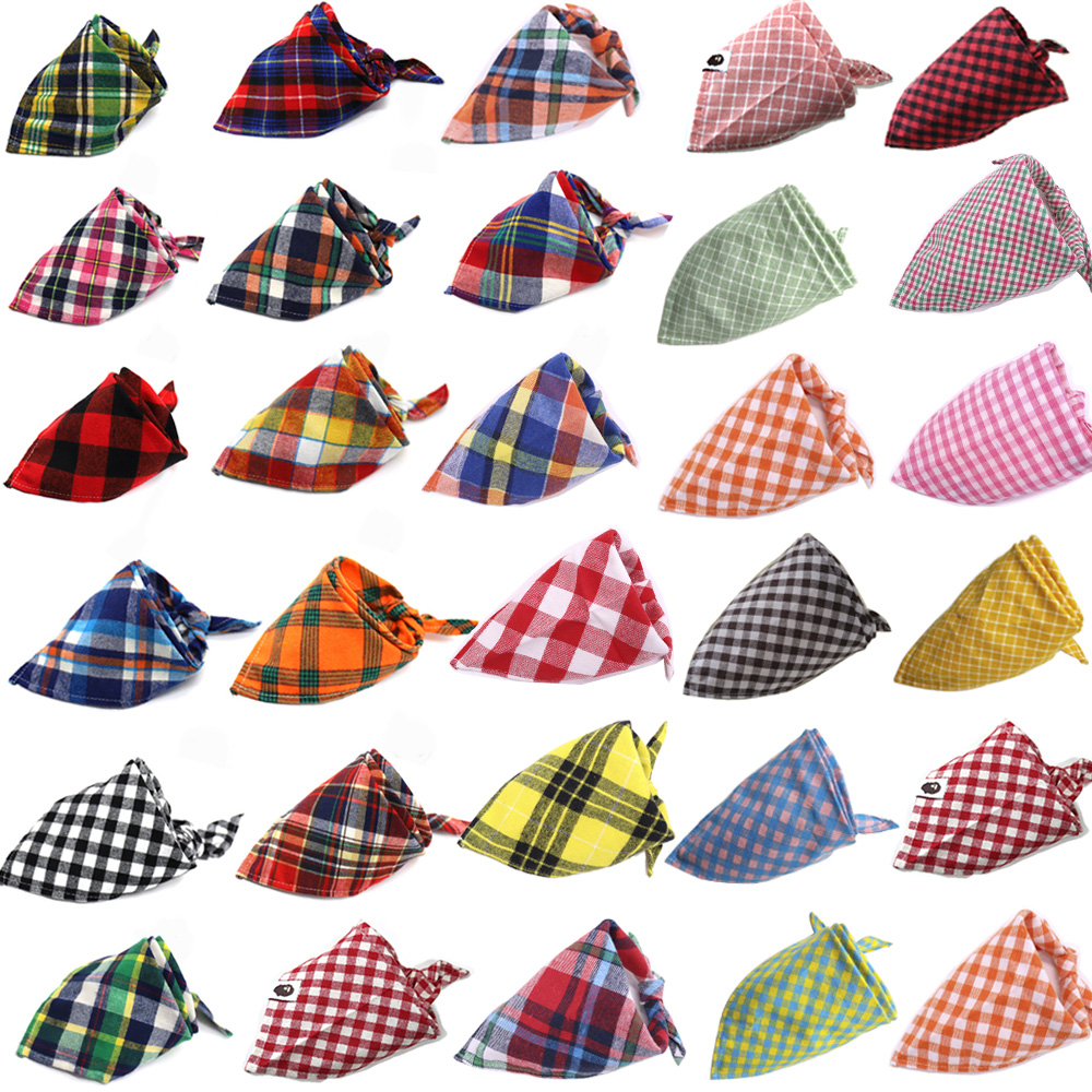 Wholesale 60pcs Dog Accessories Plaid Style Dog Bandana Cotton Washable Puppy Cat Small Dog Scarf Pet