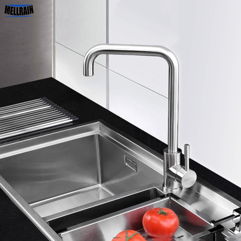 Perfect Quality 304 Stainless Steel Rotatable Kitchen Faucet Single Hole Deck Mounted Brushed Sink Tap Kitchen Mixer