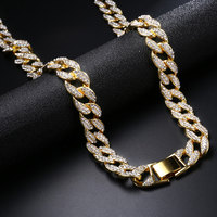 15mm Miami Curb Cuban Chain Necklace Mens Gold Iced Out Paved Rhinestones CZ Necklaces for Men Jewelry Hip Hop Rapper Bling