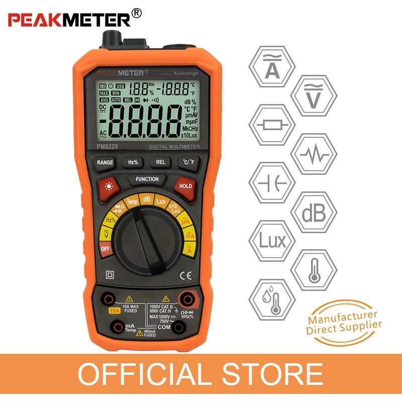 PEAKMETER PM8229 5 en 1 Auto Numérique Multimètre Avec Multi-fonction Lux Niveau Sonore Fréquence Température Humidité Testeur Compteur