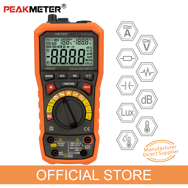 PEAKMETER PM8229 5 in 1 Auto Digital Multimeter With Multi-function Lux Sound Level Frequency Temperature Humidity Tester Meter 5 in 1 multifunction multimeter lux light tester sound level humidity thermometer meter 3999 counts max