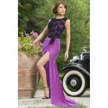 high quality purple sheer Top Luxe Lace sexy party dresses women 2015 autumn o-neck bohemian fit and flare Backless Dress 60478