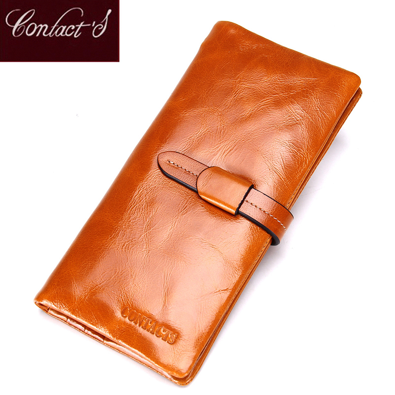 Contact's 2018 Genuine Leather Women Wallets Fashion Brand Real Cowhide Wallet Long Design Clutch Female Purse With Card Holder qiwang fashion women wallets snake pattern leatherl wallet purse for women real leather hole design female long wallet women