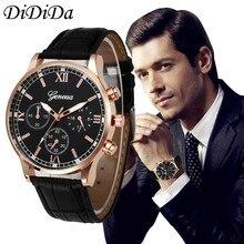 1PCS Men's Watch Quartz Wristwatches Retro Design Leather Band Analog Alloy Wrist Free Shipping wholesale relogio hombre J17