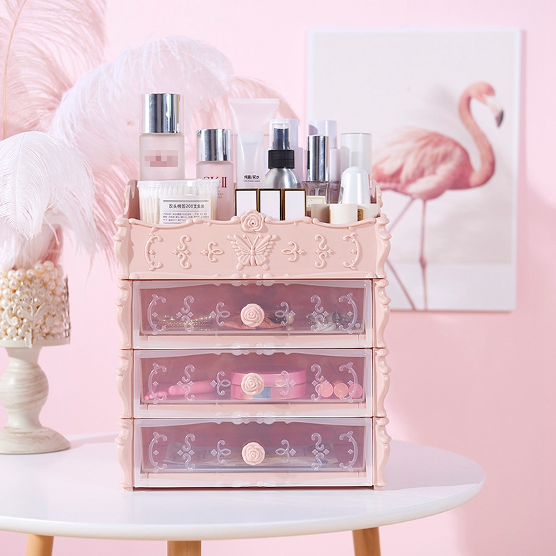 HTB1Gd65ajzuK1RjSspeq6ziHVXaa - Plastic Cosmetic Drawer Container Makeup Organizer Box