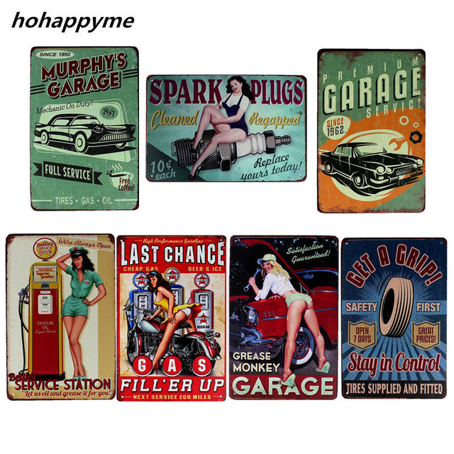 Full Seryice Garage Metal Tin Plaque Retro Car Sign Decor Plate