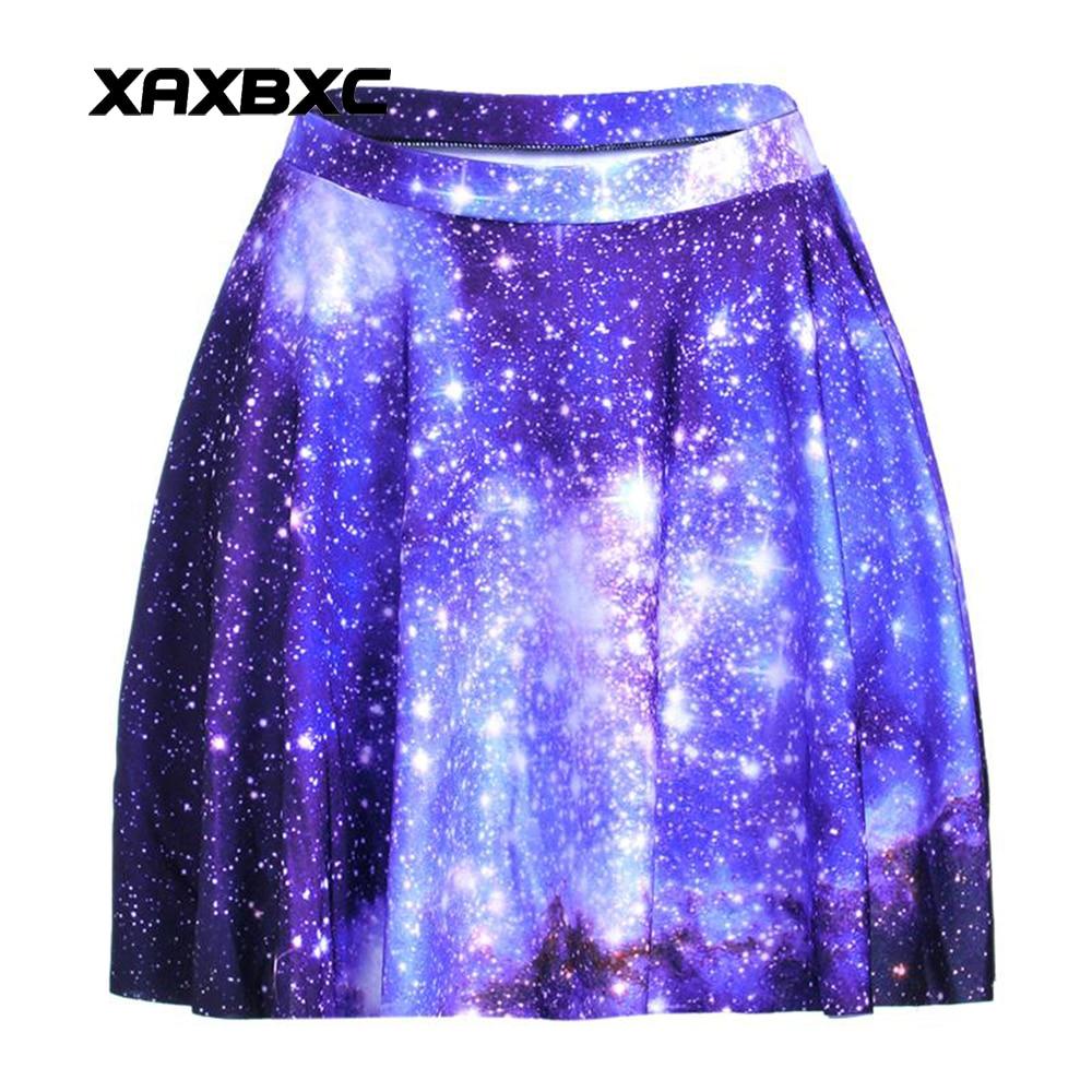 NEW 1188 Summer Harajuku Sexy Girl Galaxy Blue Sky Star Printed Cheering Squad Tutu Skater Women Mini Pleated Skirt Plus Size