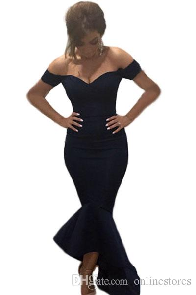 Adogirl Fashion Off Shoulder Women Jersey Party Dress Sexy Sweatheart Sleeveless Long Formal Mermaid Maxi Dresses 4 Colors