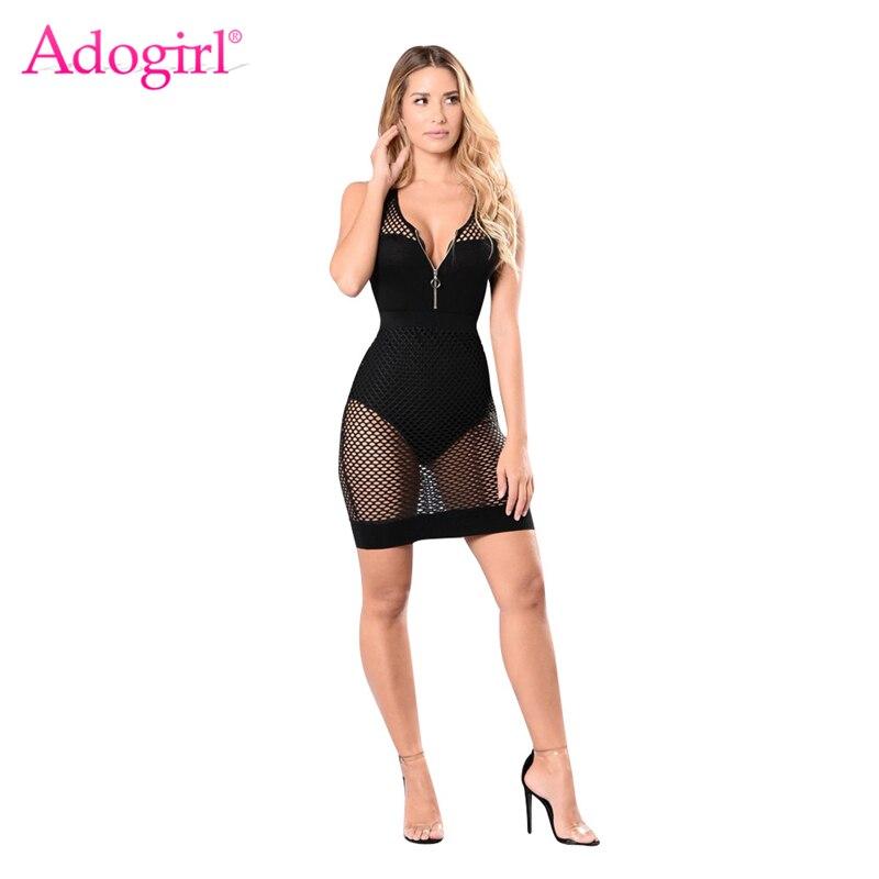 b333381b4e6b Adogirl Sheer Mesh Patchwork Women Bodycon Dress Zipper V Neck Sleeveless  Tank Bodysuit Mini Club Party Dresses Vest Dress-in Dresses from Women s  Clothing ...
