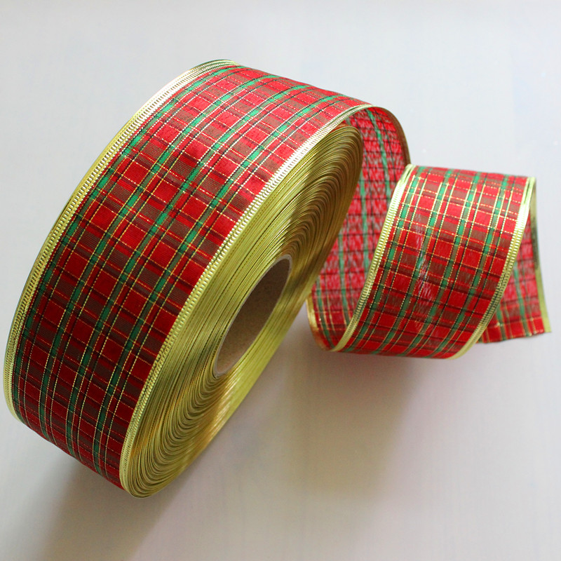 6.3CM*200CM Christmas Grid Ribbon Christmas Decorations Christmas Tree  Decorations Christmas Present Weeding Wire