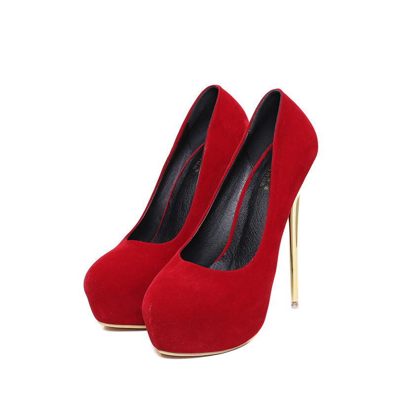 16 cm suede Fashion Round head superfine with dinner  high heels classic black large size9-13 red акустика центрального канала piega classic center large macassar high gloss