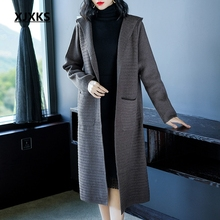 Hooded cardigan sweater with pockets