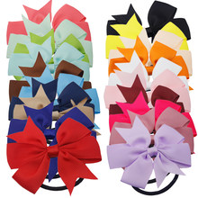3 Inch Solid Boutique Grosgrain Ribbon Girl Bow Elastic Hair Tie Rope Hair Band Bows Hair Accessories Gift for 2018(China)