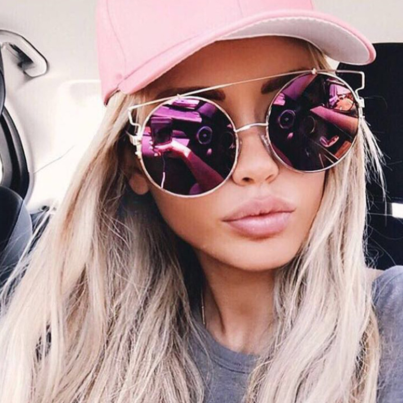 533551de71 OUTEYE Fashion Cat Eye Oversized Big Round Sunglasses Women Super Star  Brand Designer Lady Rose Gold Mirror Sun Glasses Female
