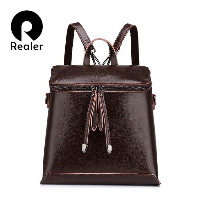 REALER brand vintage women backpack oil wax genuine leather backpack female solid waterproof backpack school bags for teenagers