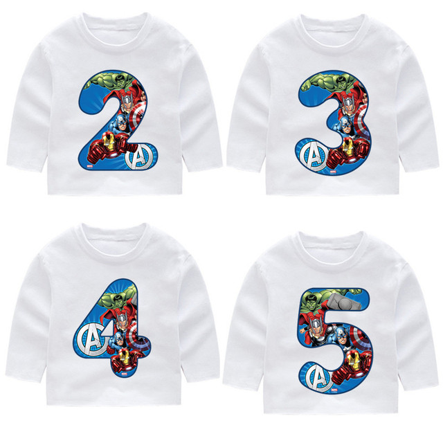 2 14 Year OldKids Happy Birthday Avengers Marvel Number 19th Long Sleeve Toddler T Shirts Autumn Boy Girl Shirt