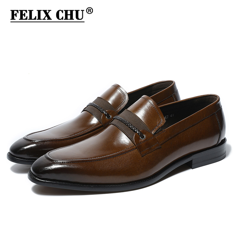 FELIX CHU 2018 Spring Genuine Leather Men Dress Shoes Slip On Wedding Party Office Brown Formal Loafers Male Footwear #H2-K2