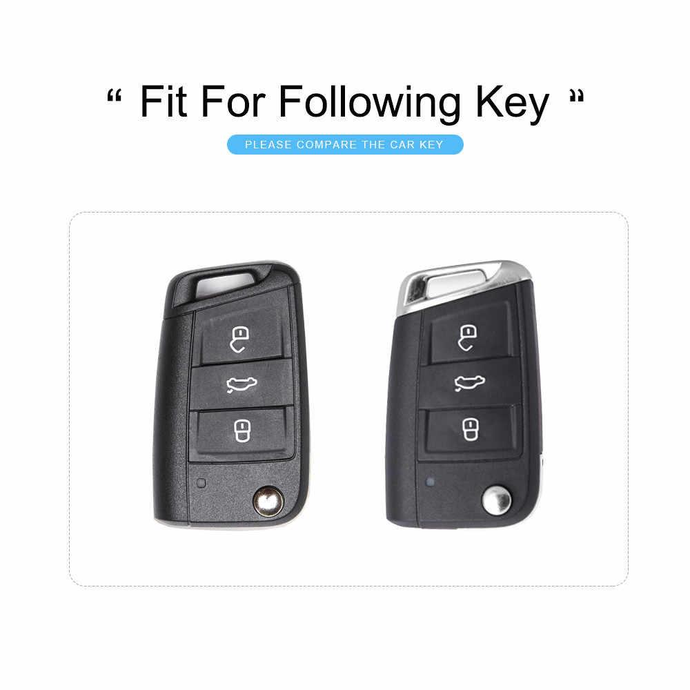 Cubierta de la llave del coche de KUKAKEY 6 colores TPU para el asiento de León, cubierta de la caja de la llave de alhambra llaveros llavero