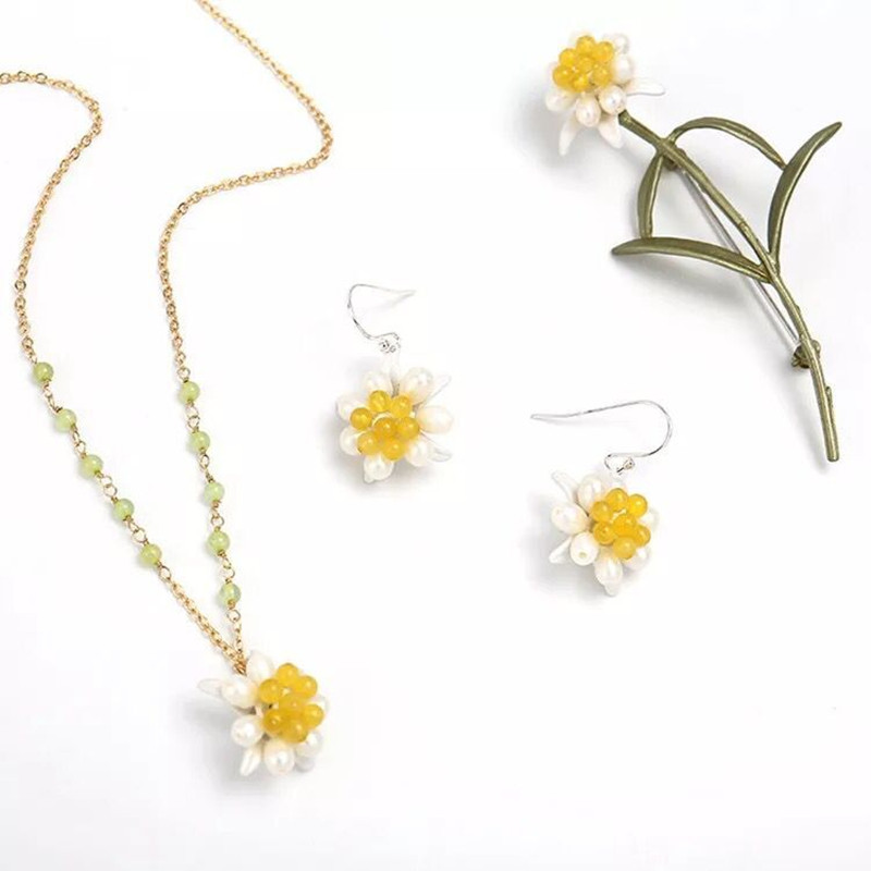 Amybaby Vintage Brass Natural Freshwater Pearls Edelweiss Necklace Stud Earrings Brooch Jewelry Sets
