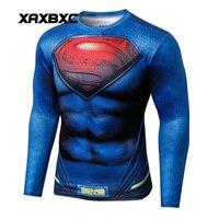 2018 New Summer Muscle Batman Superman Superhero S 3D Printed Fitness Unisex Long Sleeve T Shirt